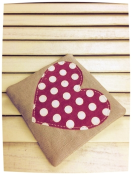 Heart Coaster (Red with Cream Dots)