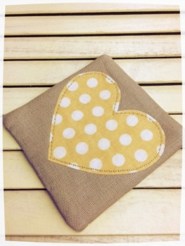 Heart Coaster (Yellow with Cream Dots)