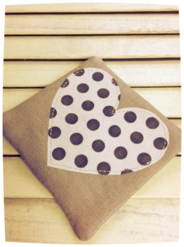 Heart Coaster (Cream with Brown Dots)