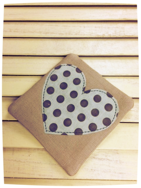 Heart Coaster (Pale Blue with Brown Dots)