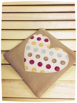 Heart Coaster (Multicoloured Dots on Cream)