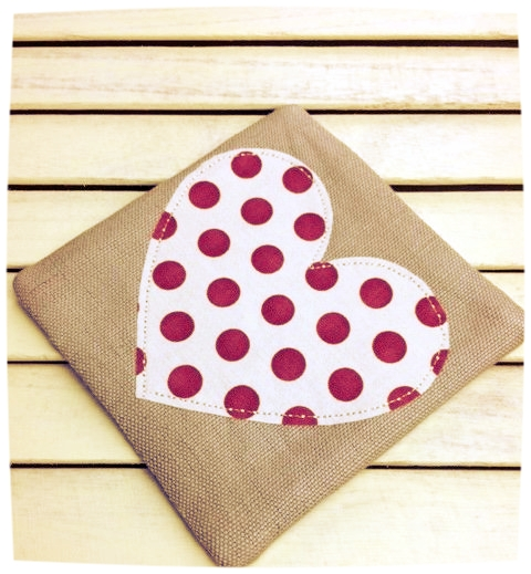 Heart Coaster (Cream with Red Dots)