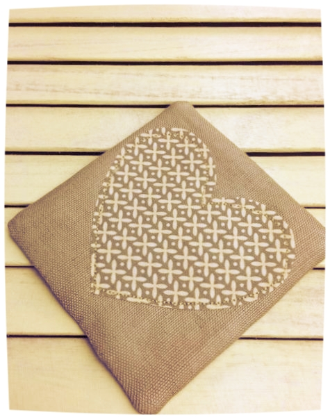 Heart Coaster (Taupe with Cream Crosses)