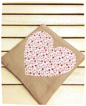 Heart Coaster (Ditsy Red on Cream)