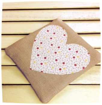 Heart Coaster (Ditsy Red and Yellow on Cream)