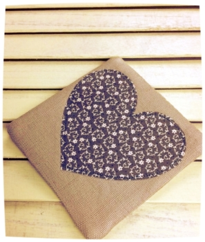 Heart Coaster (Ditsy Cream on Grey)