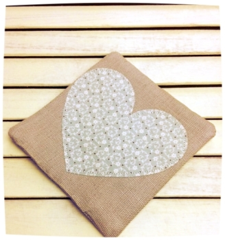 Heart Coaster (Ditsy Cream on Pale Blue)