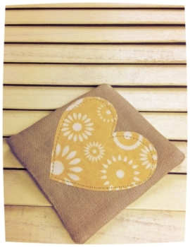 Heart Coaster (Cream Flowers on Yellow)