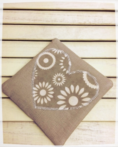 Heart Coaster (Cream Flowers on Taupe)