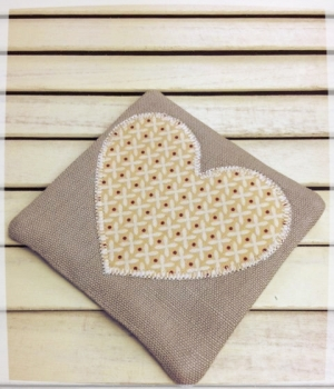 Heart Coaster (Cream Criss-Cross on Yellow)