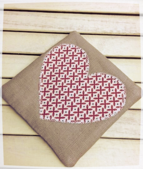 Heart Coaster (Red Criss-Cross on Cream)