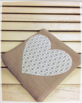 Heart Coaster (Cream Criss-Cross on Pale Blue)