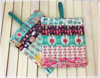 Pair of Quilted Patchwork Pot Holders with Tab