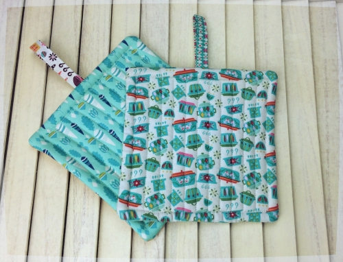 Pair of Quilted Pot Holders with Tab
