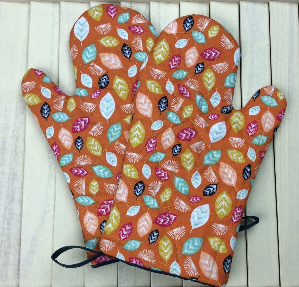 Oven Mitts (Nature Trail Leaves - Orange)