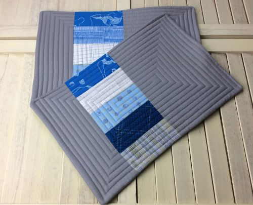 Set of Two Quilted Place Mats (Carkai Blue)