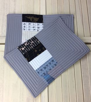 Set of Two Quilted Place Mats (Carkai Blacks)