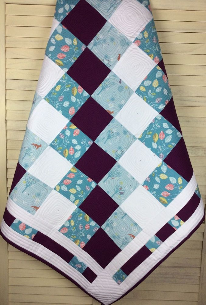 Baby Quilt - Woodland Animals and Wildwood Teal Leaves