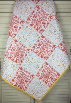 Baby Quilt - Folklore Otomi Orange and Windswept Iota Sun