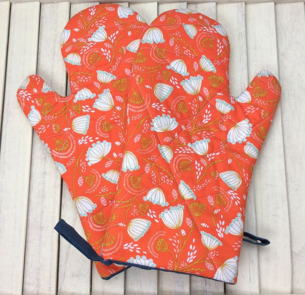 Oven Mitts (Cuckoo's Calling - Floral Orange)