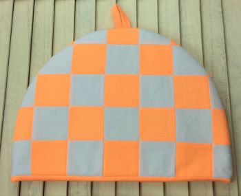 Tea Cosy - Fluorescent Orange and White