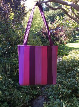 Pink and Purple Striped Tote Bag
