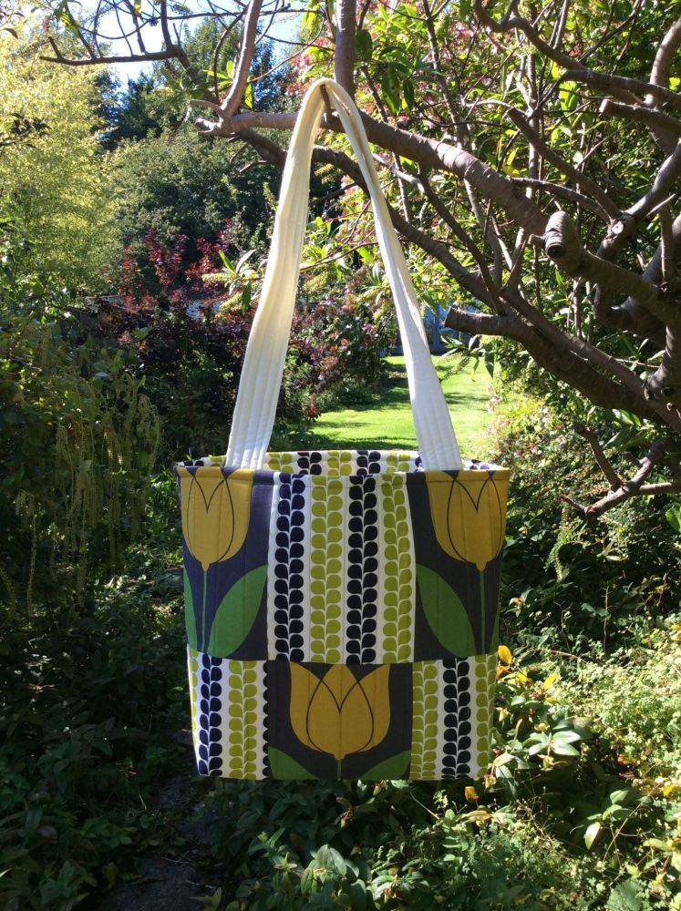 Tulip and Lime & Blue Vine Stripes Patchwork Tote Bag