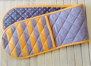 Quilted Double Oven Gloves in Yellow and Grey