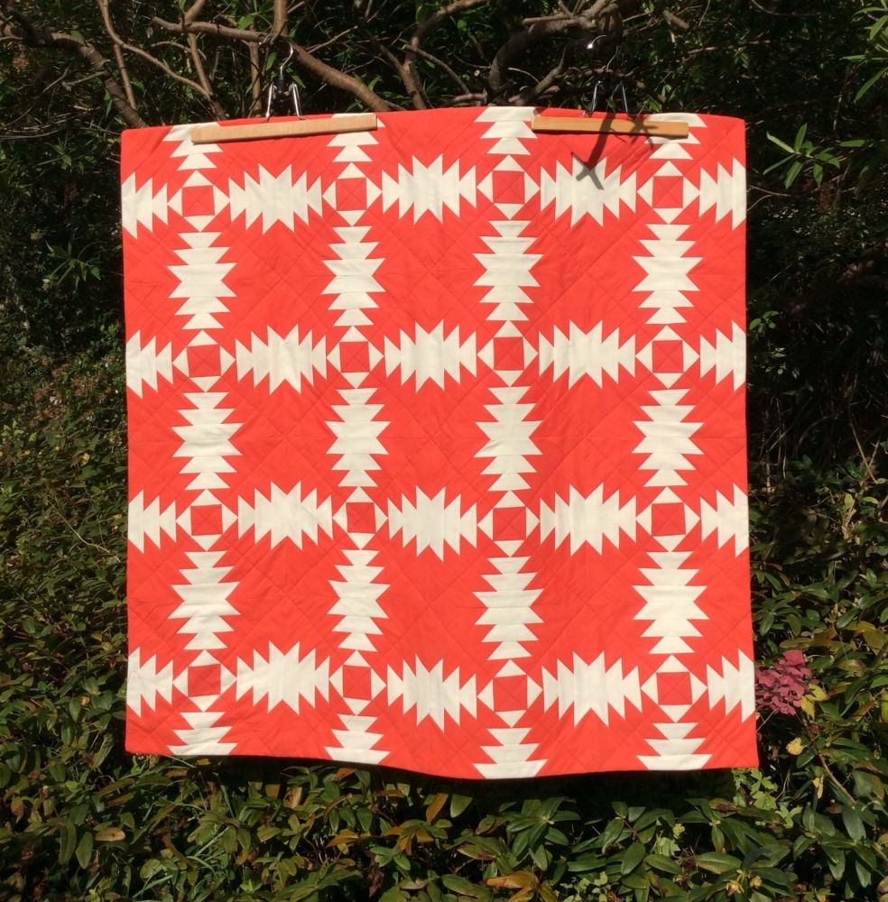 Pineapple Block Wall Hanging in Hot Tomato