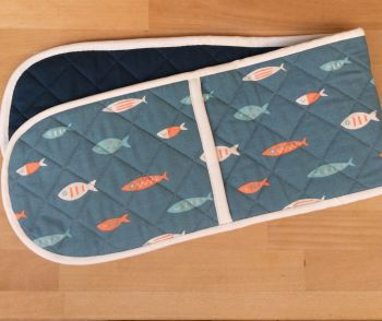Fishy Heat-Resistant Quilted Double Oven Gloves