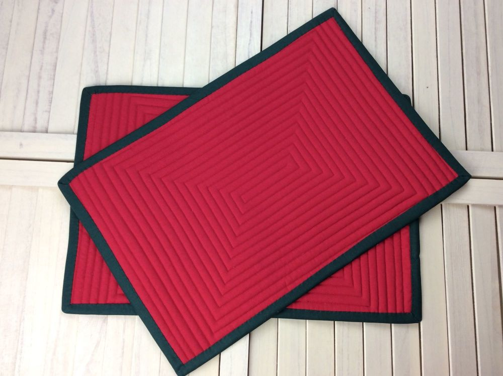 Pair of Quilted Place Mats in Red