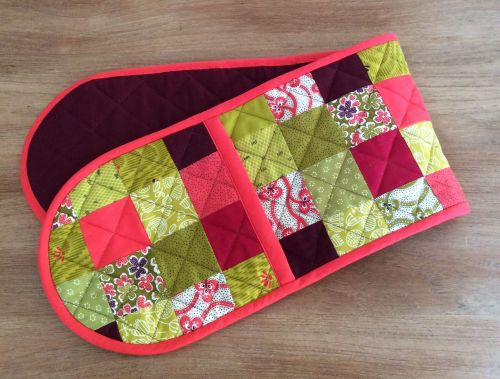 Floral Quilted Patchwork Heat Resistant Double Oven Gloves