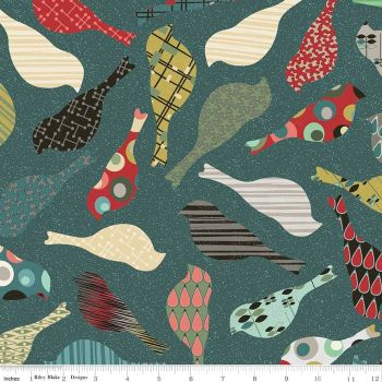 Penny Rose Fabrics - Mid Mod Bird in Teal