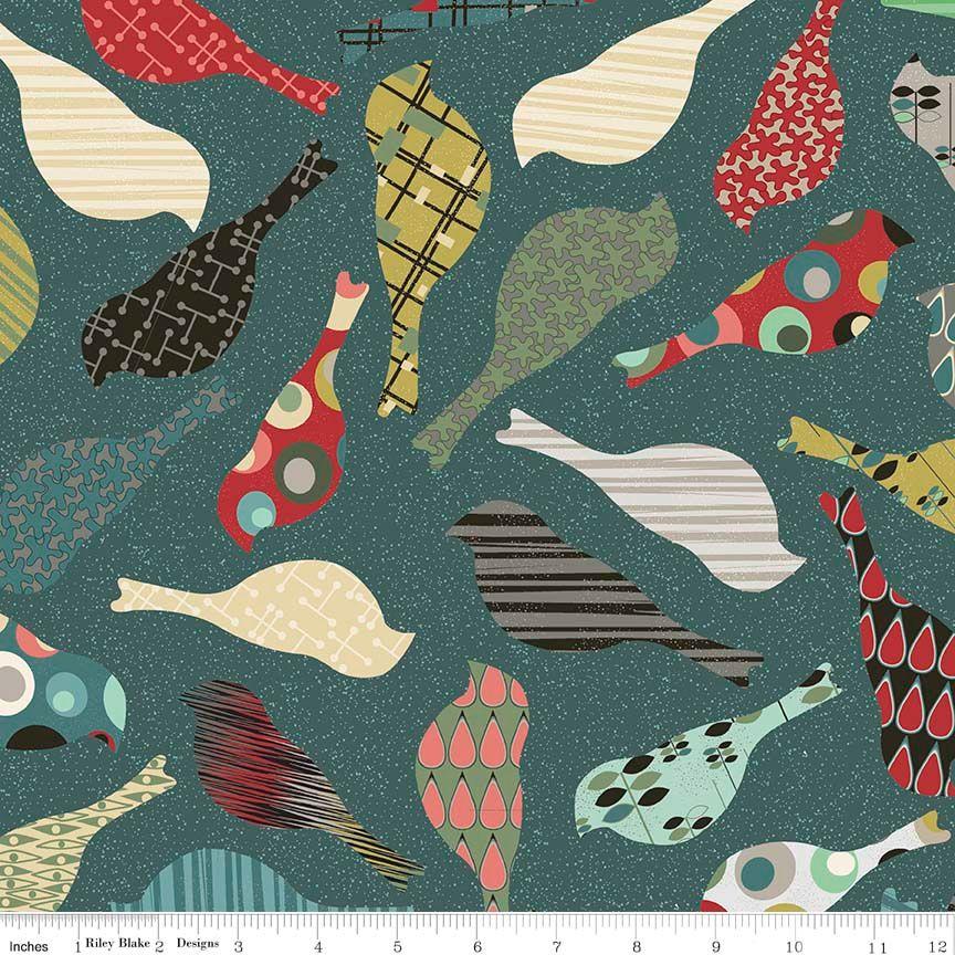 Penny Rose Fabrics - Mid Mod Bird Teal