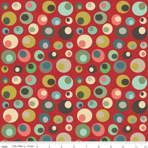 Penny Rose Fabrics - Mid Mod Circles in Red