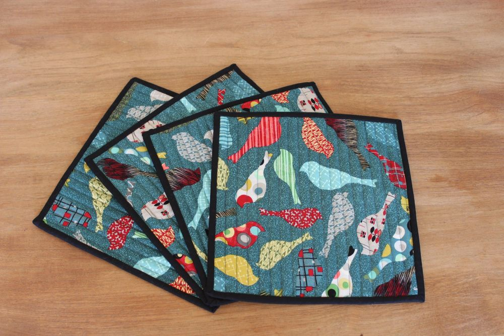 Set of 4 Mid Mod Birds in Teal Place Mats