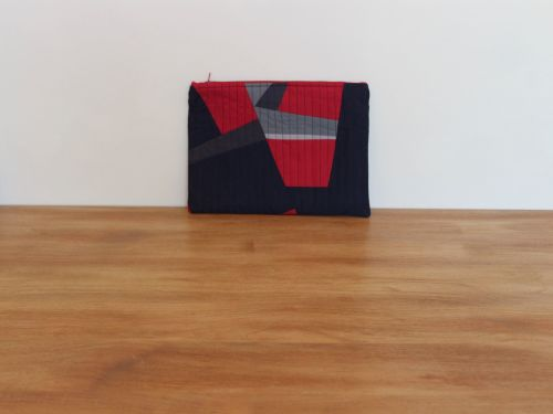 A Dorset Patchworks Bits and Bobs Quilted Pouch (Grey, Red and Blue Abstrac