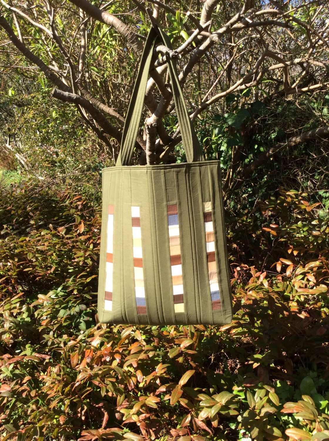 Moss Quilted Tote Bag
