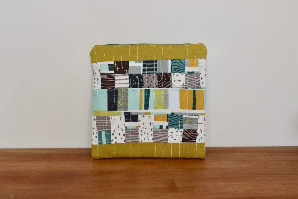 A Dorset Patchworks Square Bits and Bobs Quilted Pouch (Knock On Wood)