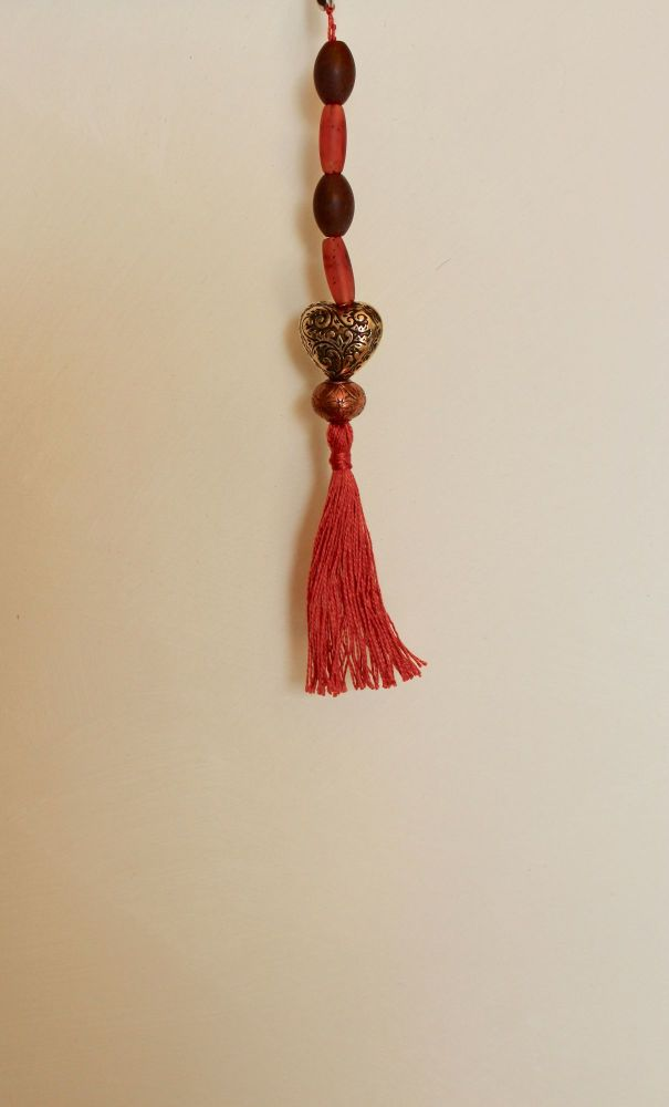 Tassel (Amber, Brown, Gold and Bronze Beads with Rust Thread)