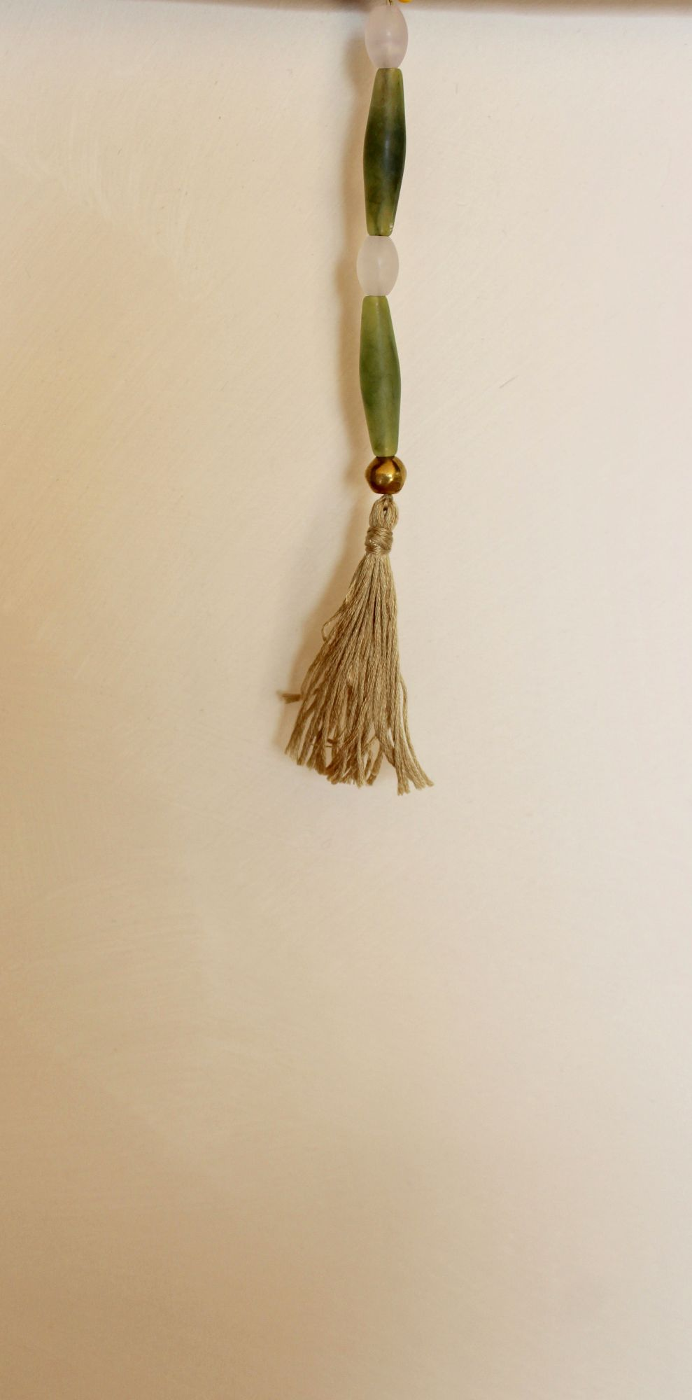 Tassel (Green, White and Gold Beads with Beige Thread)