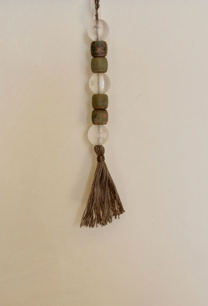 Tassel (Dark Brown and Bronze Beads with Taupe Thread)