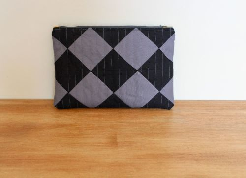A Dorset Patchworks Bits and Bobs Quilted Pouch (Black and Grey On Point)