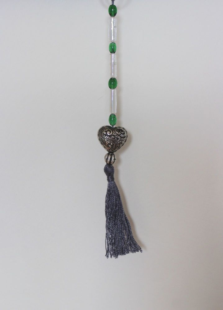 Tassel (Green and White Beads with Heart and Grey Tassel)