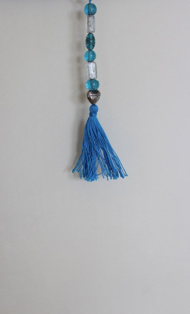 Tassel (Blue and White Beads with Heart and Blue Tassel)