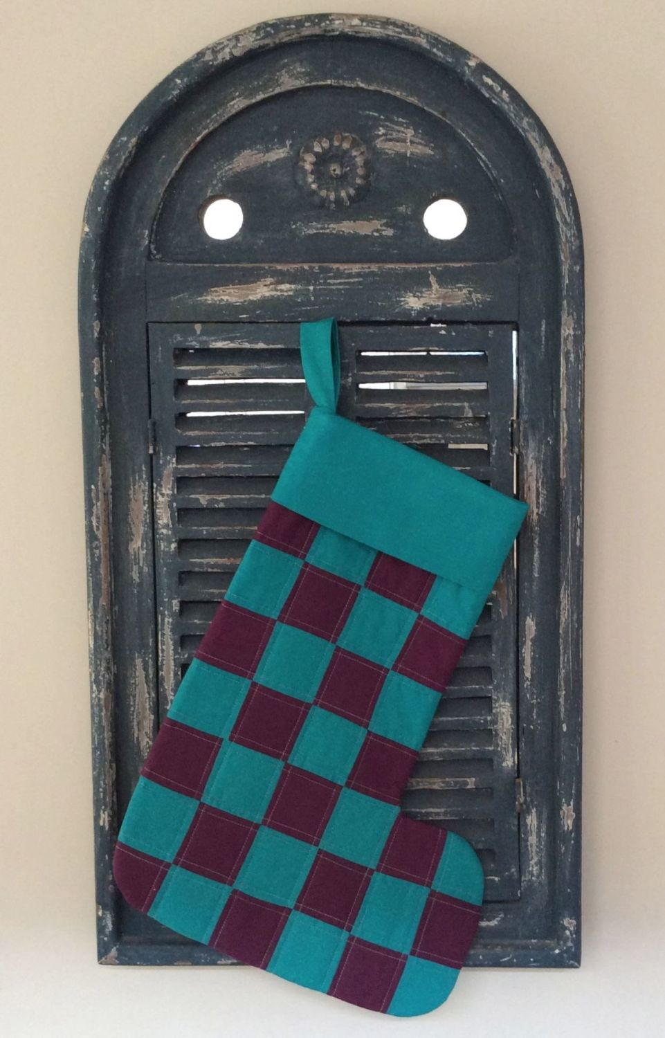 Purple and Turquoise Patchwork Christmas Stocking