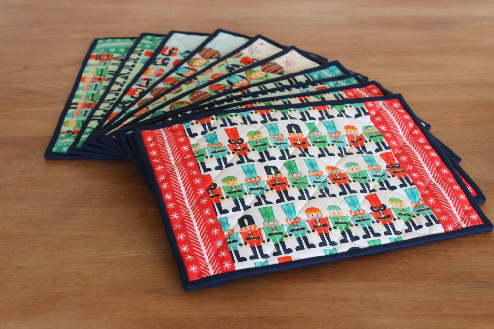 Nutcracker Christmas Quilted Place Mats and Coasters