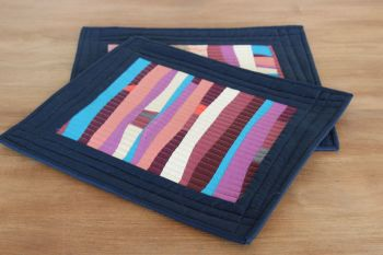 Pair of Improv Quilted Place Mats (Blues and Purples)