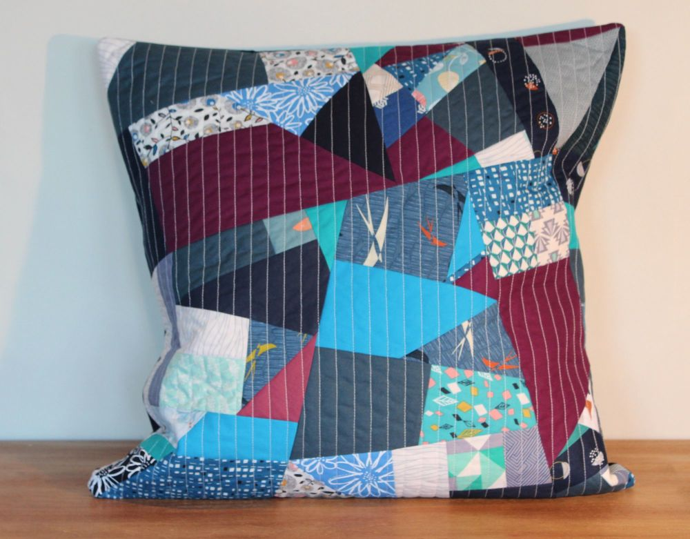 Blues Rules Quilted Envelope Cushion Cover