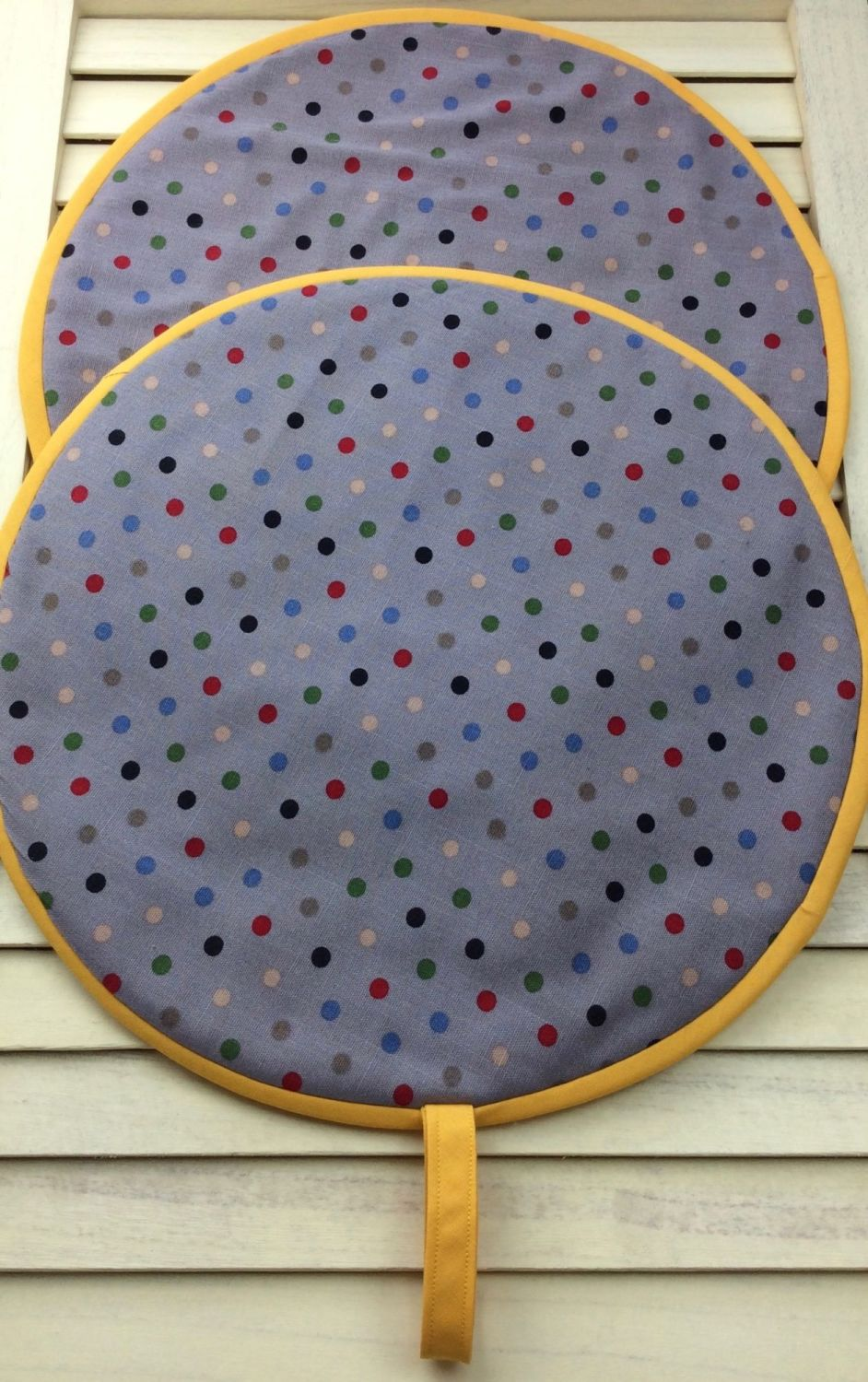 Pair of Polka Dot Aga Lid Covers